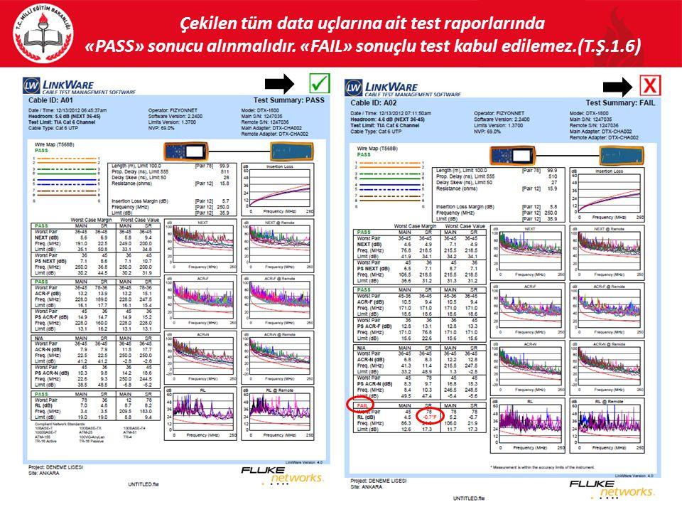Çekilen tüm data uçlarına ait test raporlarında «PASS» sonucu alınmalıdır.