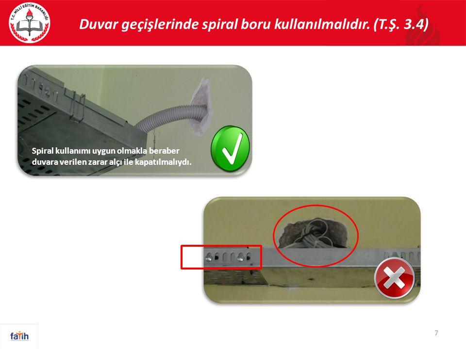 Metal tavaların kesilen yüzeyleri taşlanmalı ve koruma önlemi alınarak kabloların dış yüzeylerine zarar vermesi engellenmelidir.