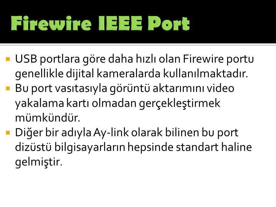  USB portlara göre daha hızlı olan Firewire portu genellikle dijital kameralarda kullanılmaktadır.  Bu port vasıtasıyla görüntü aktarımını video yak