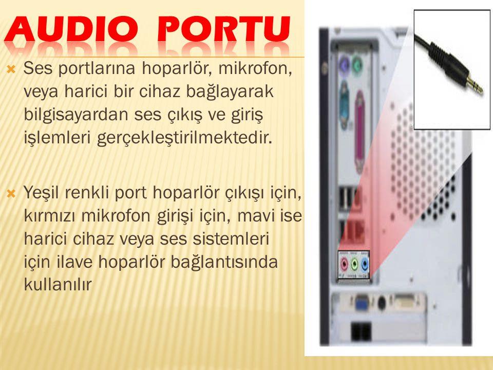  Ses portlarına hoparlör, mikrofon, veya harici bir cihaz bağlayarak bilgisayardan ses çıkış ve giriş işlemleri gerçekleştirilmektedir.  Yeşil renkl