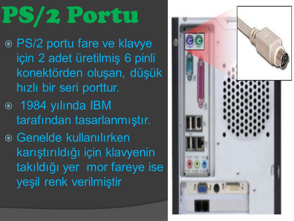 PS/2 Portu  PS/2 portu fare ve klavye için 2 adet üretilmiş 6 pinli konektörden oluşan, düşük hızlı bir seri porttur.  1984 yılında IBM tarafından t