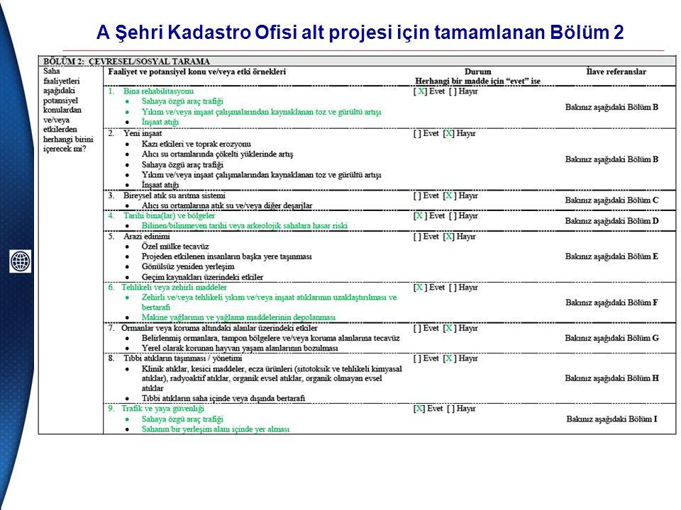 A Şehri Kadastro Ofisi alt projesi için tamamlanan Bölüm 2