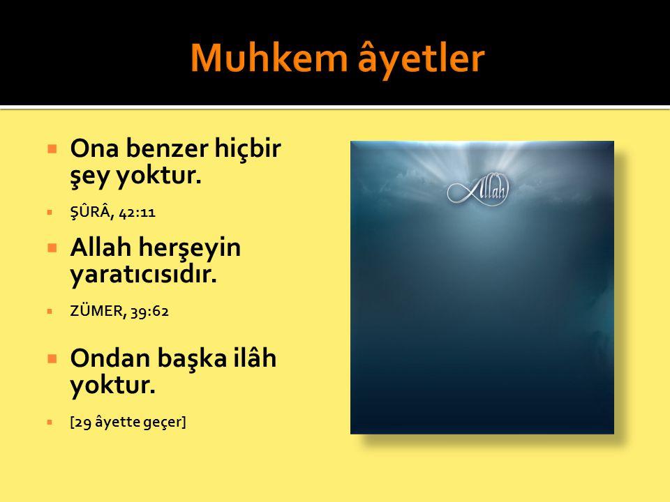  Ona benzer hiçbir şey yoktur.  ŞÛRÂ, 42:11  Allah herşeyin yaratıcısıdır.  ZÜMER, 39:62  Ondan başka ilâh yoktur.  [29 âyette geçer]
