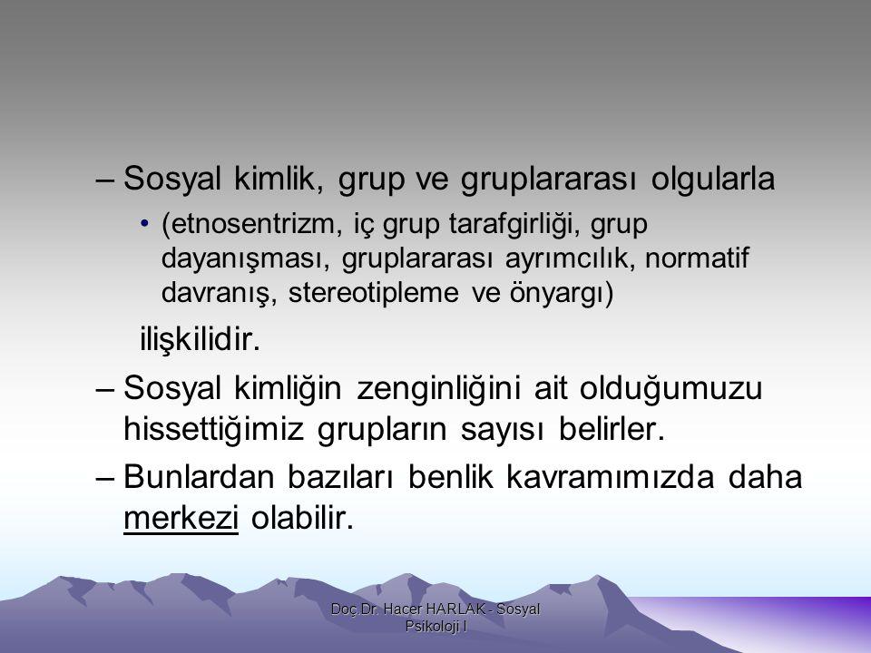 –Sosyal kimlik, grup ve gruplararası olgularla •(etnosentrizm, iç grup tarafgirliği, grup dayanışması, gruplararası ayrımcılık, normatif davranış, ste
