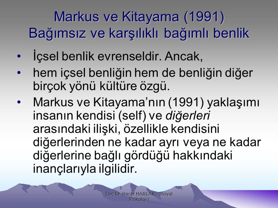 Markus ve Kitayama (1991) Bağımsız ve karşılıklı bağımlı benlik •İçsel benlik evrenseldir. Ancak, •hem içsel benliğin hem de benliğin diğer birçok yön