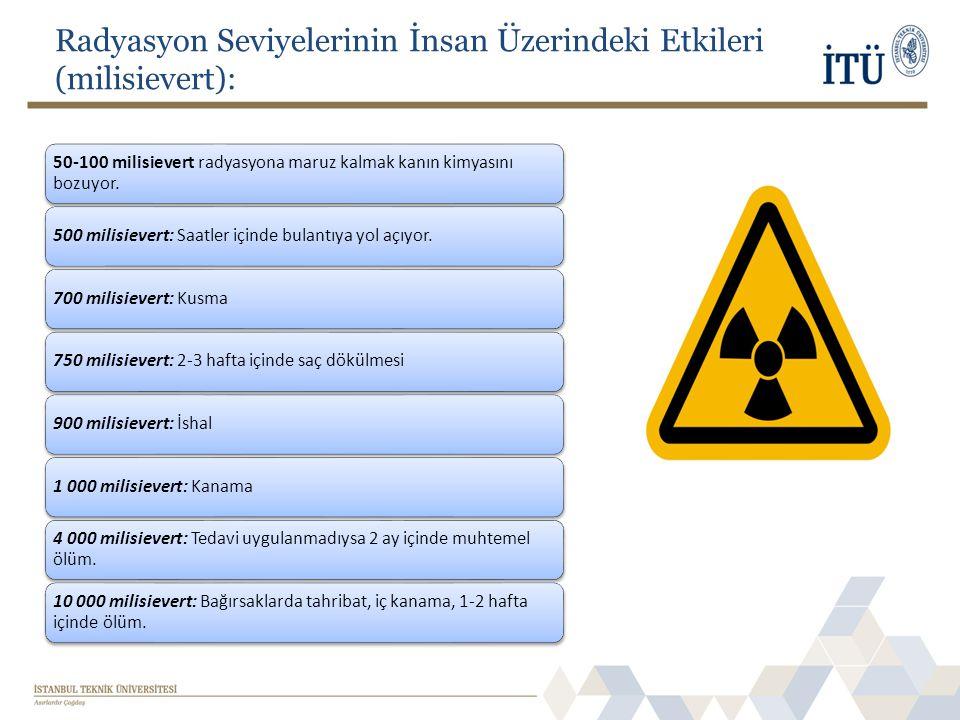 Radyasyon Seviyelerinin İnsan Üzerindeki Etkileri (milisievert): 50-100 milisievert radyasyona maruz kalmak kanın kimyasını bozuyor. 500 milisievert:
