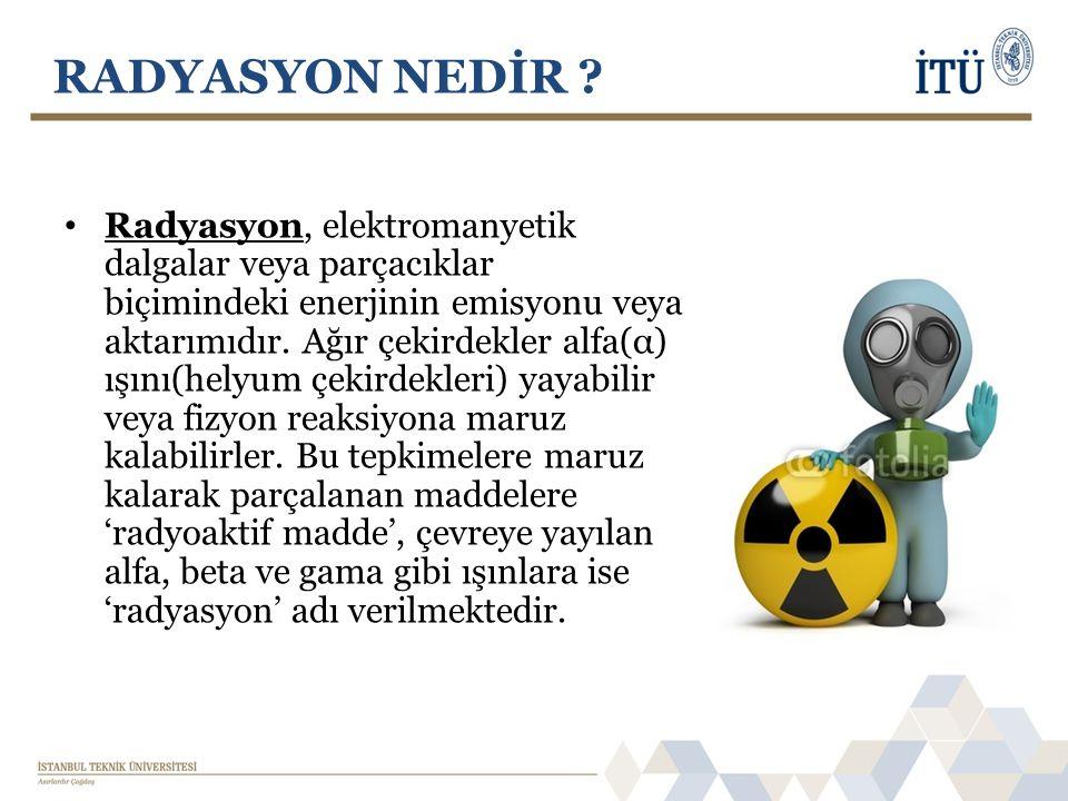 • Radyasyon, elektromanyetik dalgalar veya parçacıklar biçimindeki enerjinin emisyonu veya aktarımıdır. Ağır çekirdekler alfa(α) ışını(helyum çekirdek