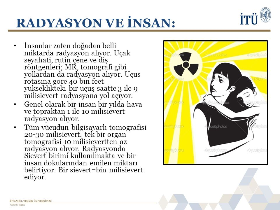 RADYASYON VE İNSAN: • İnsanlar zaten doğadan belli miktarda radyasyon alıyor. Uçak seyahati, rutin çene ve diş röntgenleri; MR, tomografi gibi yollard