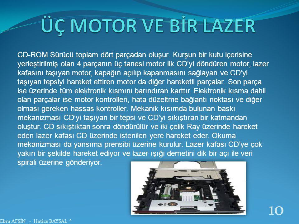 CD-ROM Sürücü toplam dört parçadan oluşur. Kurşun bir kutu içerisine yerleştirilmiş olan 4 parçanın üç tanesi motor ilk CD'yi döndüren motor, lazer ka