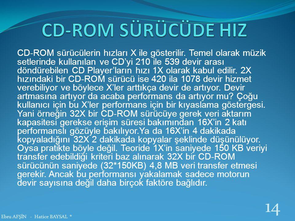 CD-ROM sürücülerin hızları X ile gösterilir. Temel olarak müzik setlerinde kullanılan ve CD'yi 210 ile 539 devir arası döndürebilen CD Player'ların hı