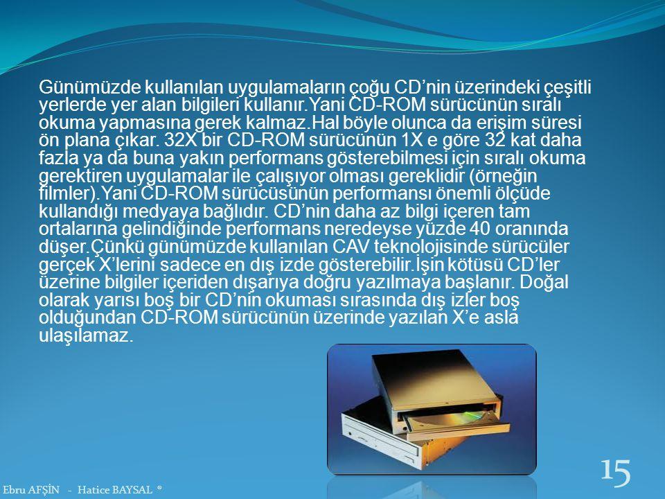 Günümüzde kullanılan uygulamaların çoğu CD'nin üzerindeki çeşitli yerlerde yer alan bilgileri kullanır.Yani CD-ROM sürücünün sıralı okuma yapmasına gerek kalmaz.Hal böyle olunca da erişim süresi ön plana çıkar.