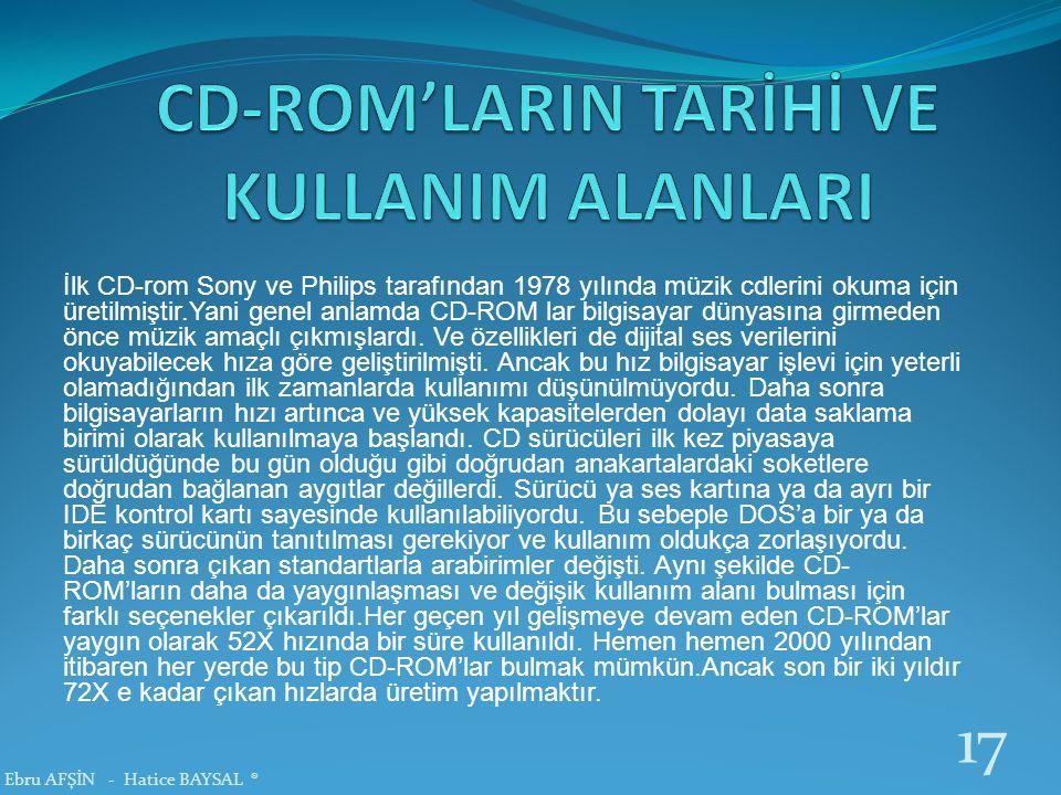 İlk CD-rom Sony ve Philips tarafından 1978 yılında müzik cdlerini okuma için üretilmiştir.Yani genel anlamda CD-ROM lar bilgisayar dünyasına girmeden