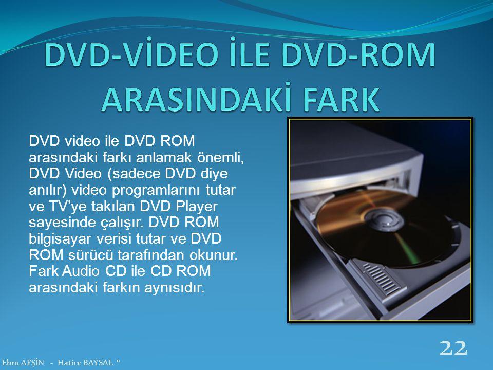 DVD video ile DVD ROM arasındaki farkı anlamak önemli, DVD Video (sadece DVD diye anılır) video programlarını tutar ve TV'ye takılan DVD Player sayesi