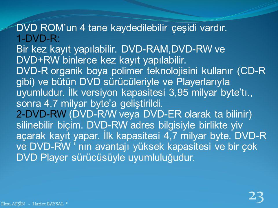 DVD ROM'un 4 tane kaydedilebilir çeşidi vardır. 1-DVD-R: Bir kez kayıt yapılabilir. DVD-RAM,DVD-RW ve DVD+RW binlerce kez kayıt yapılabilir. DVD-R org