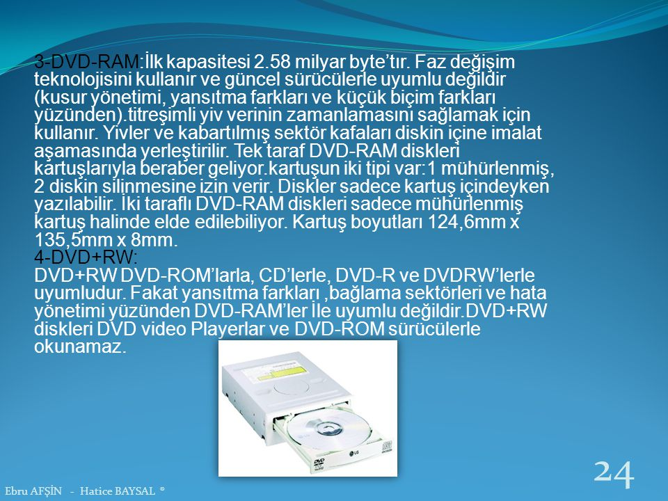3-DVD-RAM:İlk kapasitesi 2.58 milyar byte'tır. Faz değişim teknolojisini kullanır ve güncel sürücülerle uyumlu değildir (kusur yönetimi, yansıtma fark