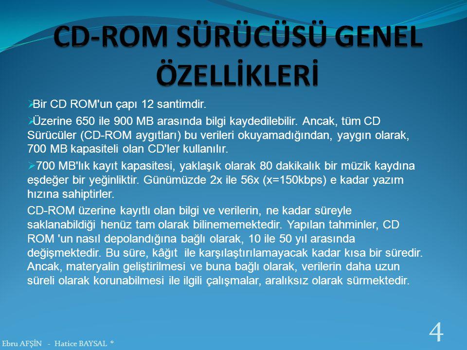  Bir CD ROM'un çapı 12 santimdir.  Üzerine 650 ile 900 MB arasında bilgi kaydedilebilir. Ancak, tüm CD Sürücüler (CD-ROM aygıtları) bu verileri okuy