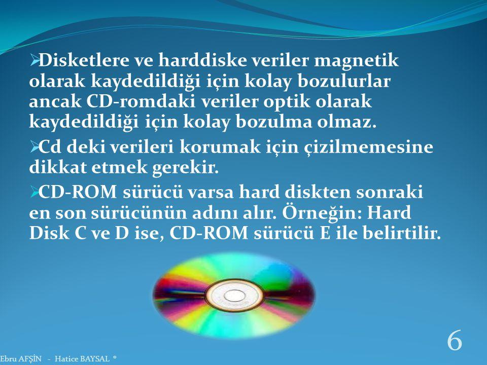  Disketlere ve harddiske veriler magnetik olarak kaydedildiği için kolay bozulurlar ancak CD-romdaki veriler optik olarak kaydedildiği için kolay bozulma olmaz.