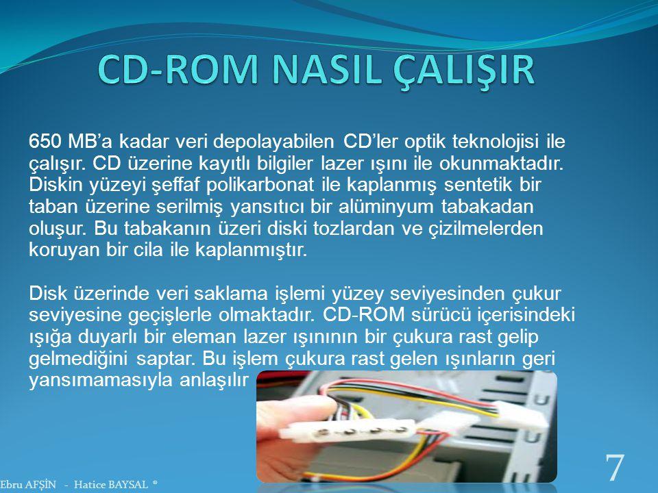 650 MB'a kadar veri depolayabilen CD'ler optik teknolojisi ile çalışır. CD üzerine kayıtlı bilgiler lazer ışını ile okunmaktadır. Diskin yüzeyi şeffaf