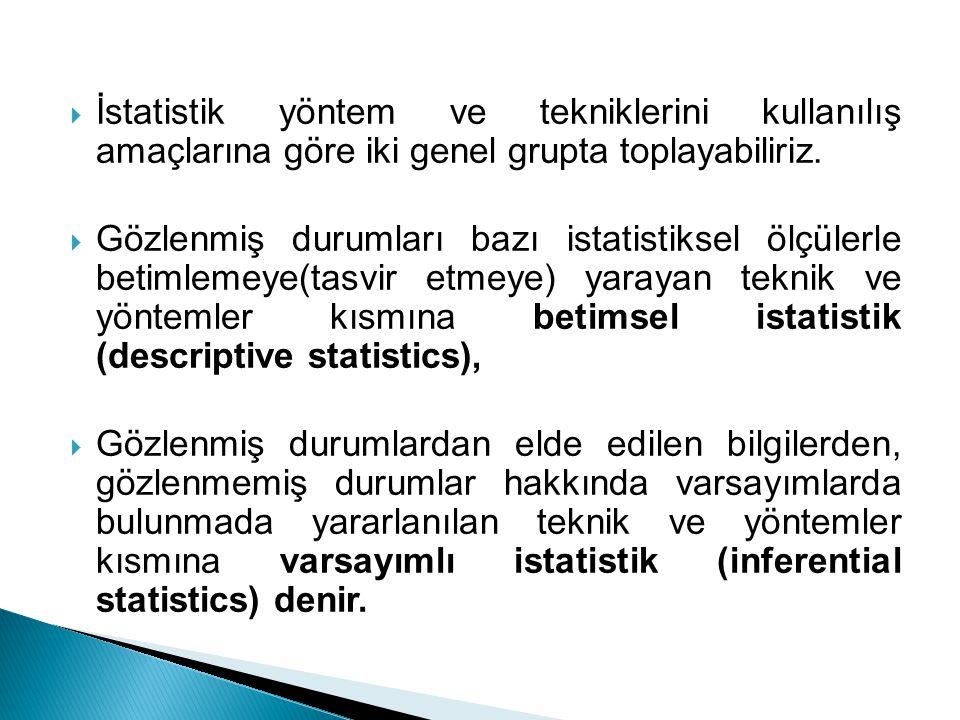  İstatistik yöntem ve tekniklerini kullanılış amaçlarına göre iki genel grupta toplayabiliriz.