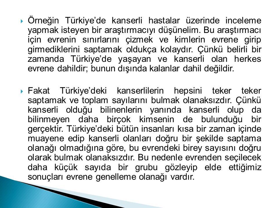 Örneğin Türkiye'de kanserli hastalar üzerinde inceleme yapmak isteyen bir araştırmacıyı düşünelim.
