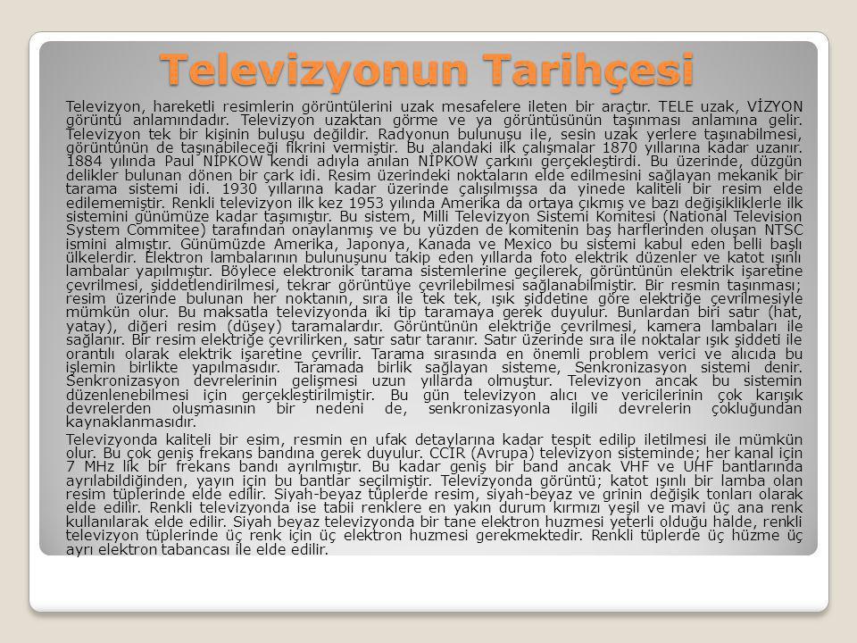 Televizyonun Tarihçesi Televizyon, hareketli resimlerin görüntülerini uzak mesafelere ileten bir araçtır. TELE uzak, VİZYON görüntü anlamındadır. Tele