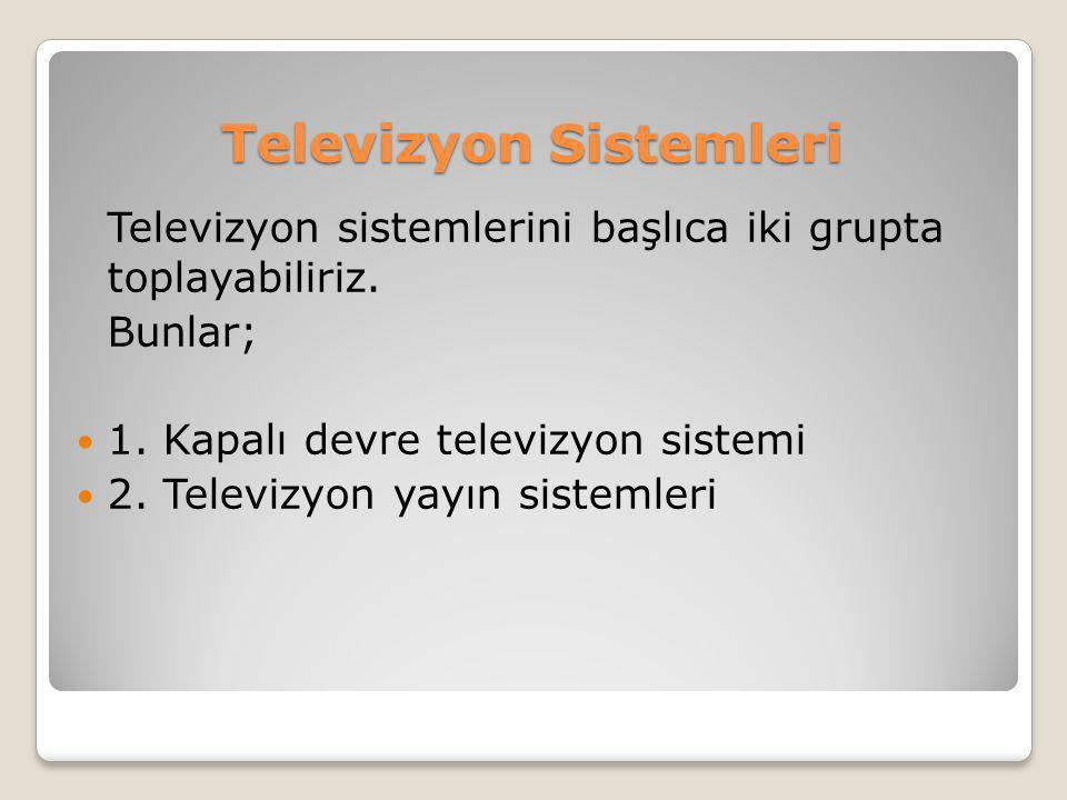 Televizyon Sistemleri Televizyon sistemlerini başlıca iki grupta toplayabiliriz. Bunlar;  1. Kapalı devre televizyon sistemi  2. Televizyon yayın si