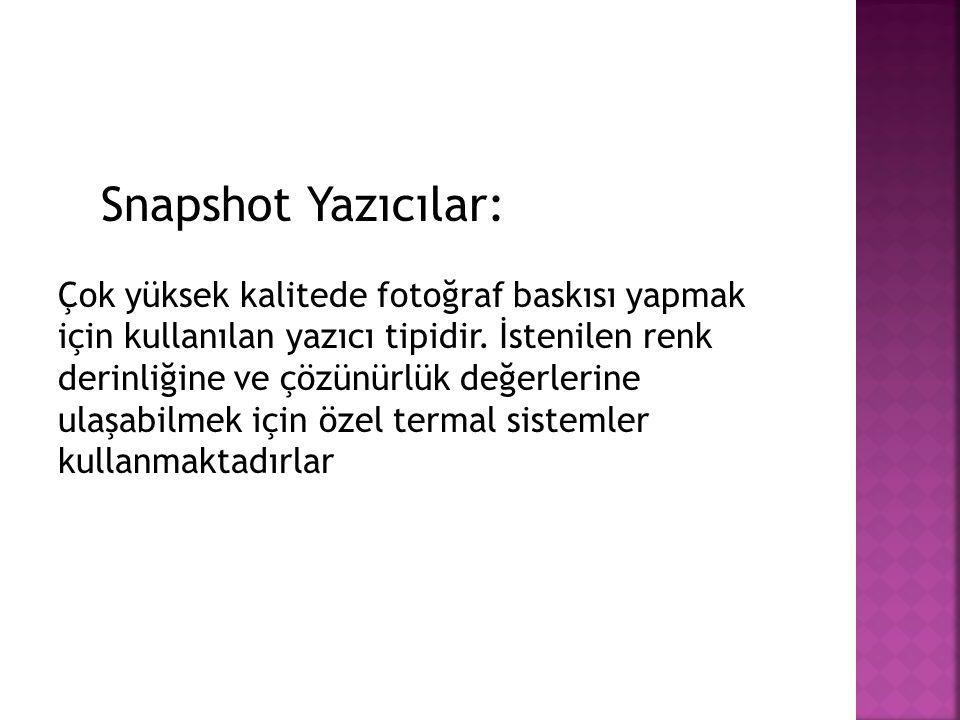 Snapshot Yazıcılar: Çok yüksek kalitede fotoğraf baskısı yapmak için kullanılan yazıcı tipidir. İstenilen renk derinliğine ve çözünürlük değerlerine u