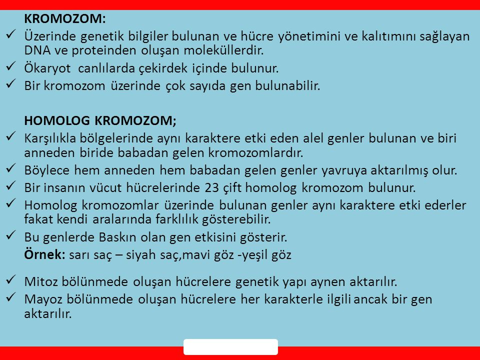 KROMOZOM:  Üzerinde genetik bilgiler bulunan ve hücre yönetimini ve kalıtımını sağlayan DNA ve proteinden oluşan moleküllerdir.