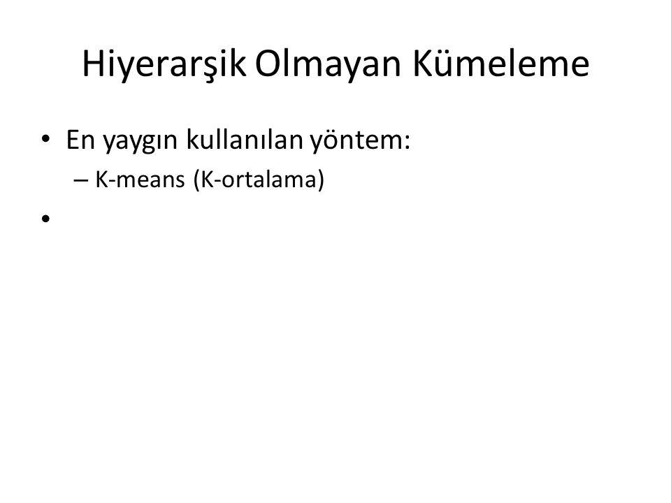 Hiyerarşik Olmayan Kümeleme • En yaygın kullanılan yöntem: – K-means (K-ortalama) •