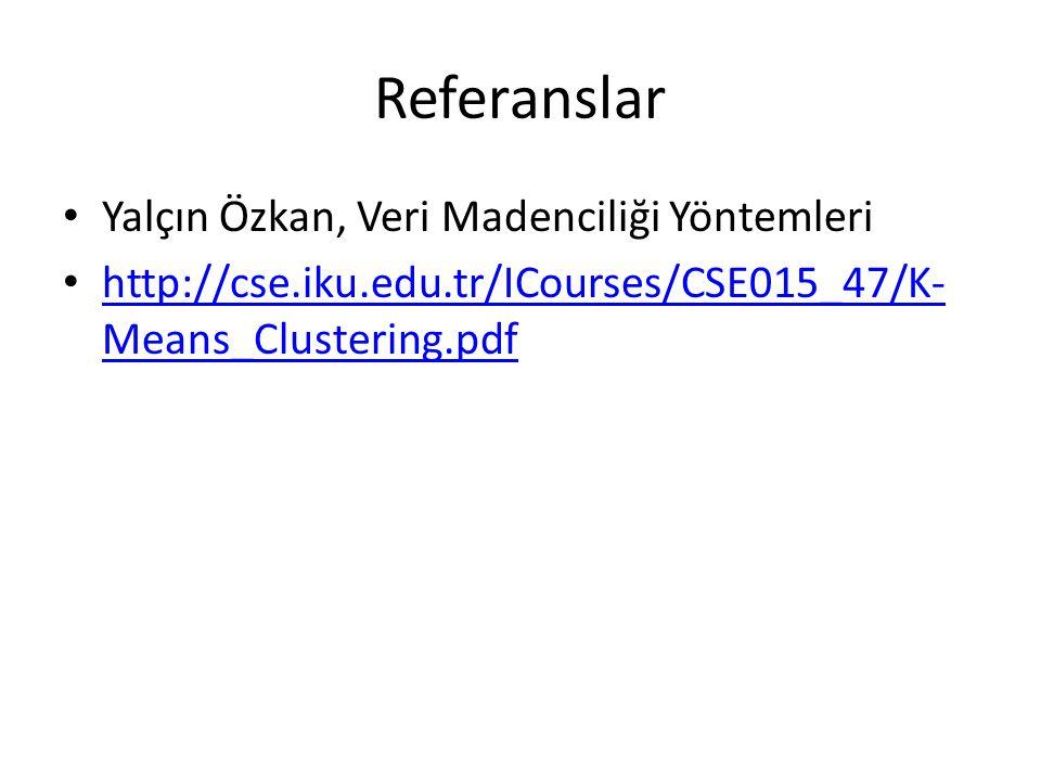 Referanslar • Yalçın Özkan, Veri Madenciliği Yöntemleri • http://cse.iku.edu.tr/ICourses/CSE015_47/K- Means_Clustering.pdf http://cse.iku.edu.tr/ICourses/CSE015_47/K- Means_Clustering.pdf
