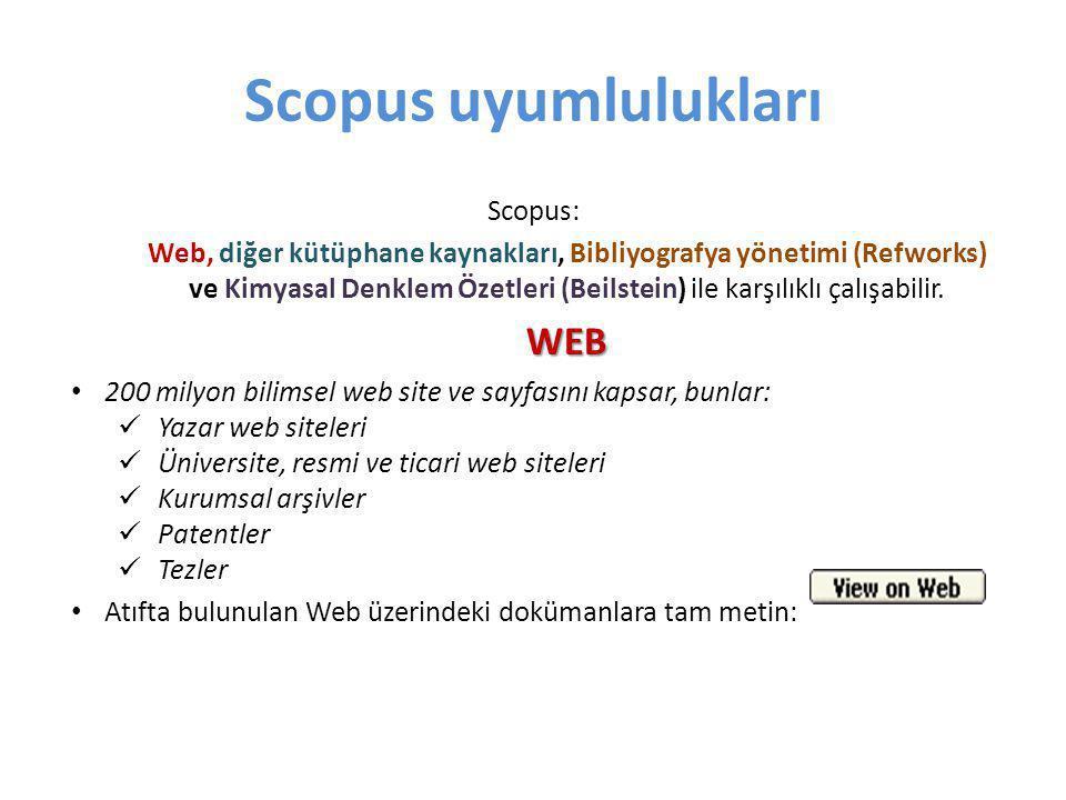 Scopus uyumlulukları Scopus: Web, diğer kütüphane kaynakları, Bibliyografya yönetimi (Refworks) ve Kimyasal Denklem Özetleri (Beilstein) ile karşılıkl