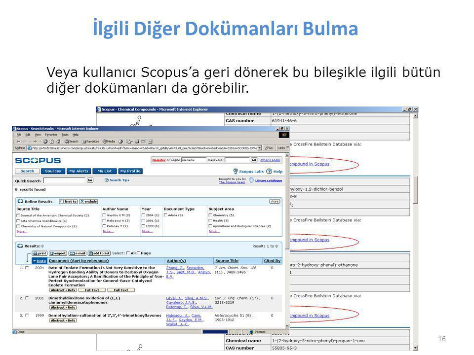 16 İlgili Diğer Dokümanları Bulma Veya kullanıcı Scopus'a geri dönerek bu bileşikle ilgili bütün diğer dokümanları da görebilir.