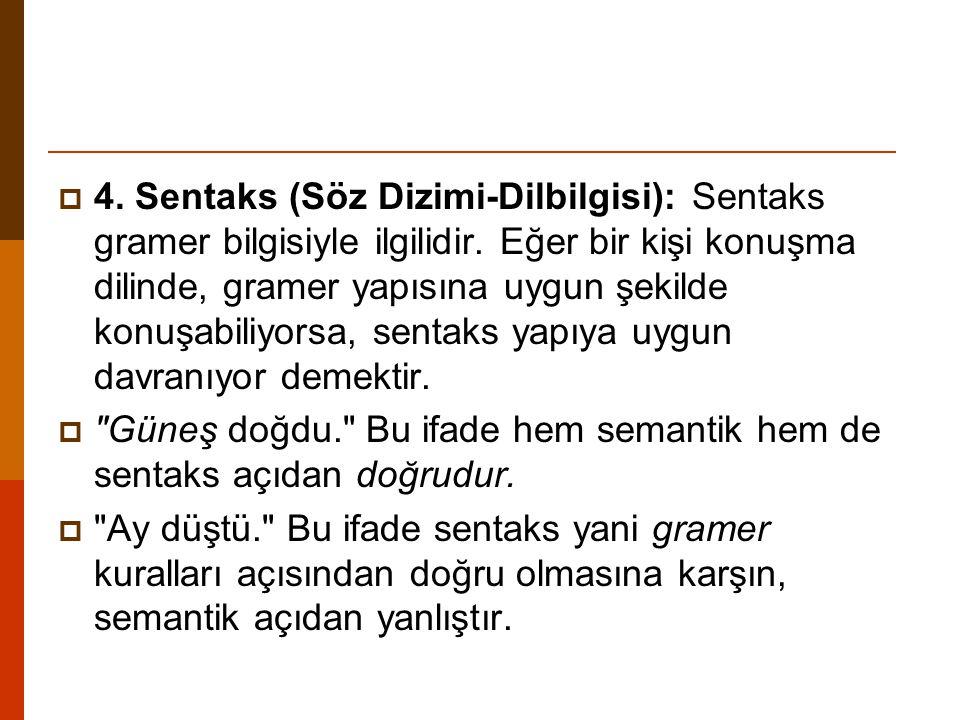  4. Sentaks (Söz Dizimi-Dilbilgisi): Sentaks gramer bilgisiyle ilgilidir. Eğer bir kişi konuşma dilinde, gramer yapısına uygun şekilde konuşabiliyors