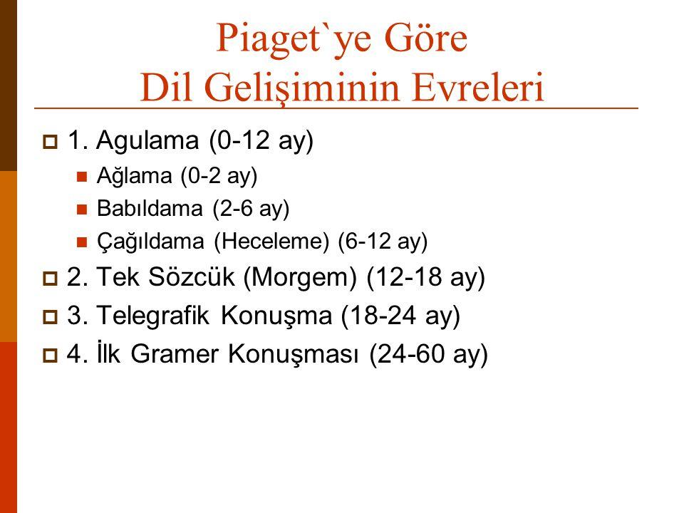 Piaget`ye Göre Dil Gelişiminin Evreleri  1. Agulama (0-12 ay)  Ağlama (0-2 ay)  Babıldama (2-6 ay)  Çağıldama (Heceleme) (6-12 ay)  2. Tek Sözcük