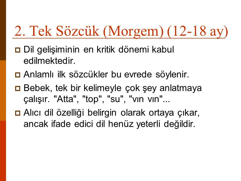 2. Tek Sözcük (Morgem) (12-18 ay)  Dil gelişiminin en kritik dönemi kabul edilmektedir.  Anlamlı ilk sözcükler bu evrede söylenir.  Bebek, tek bir