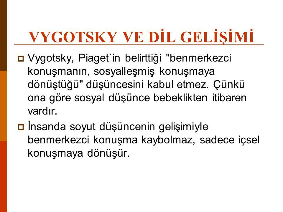 VYGOTSKY VE DİL GELİŞİMİ  Vygotsky, Piaget`in belirttiği