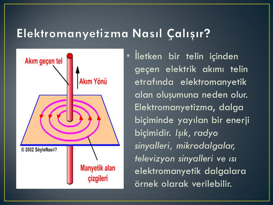•İ letken bir telin içinden geçen elektrik akımı telin etrafında elektromanyetik alan oluşumuna neden olur. Elektromanyetizma, dalga biçiminde yayılan
