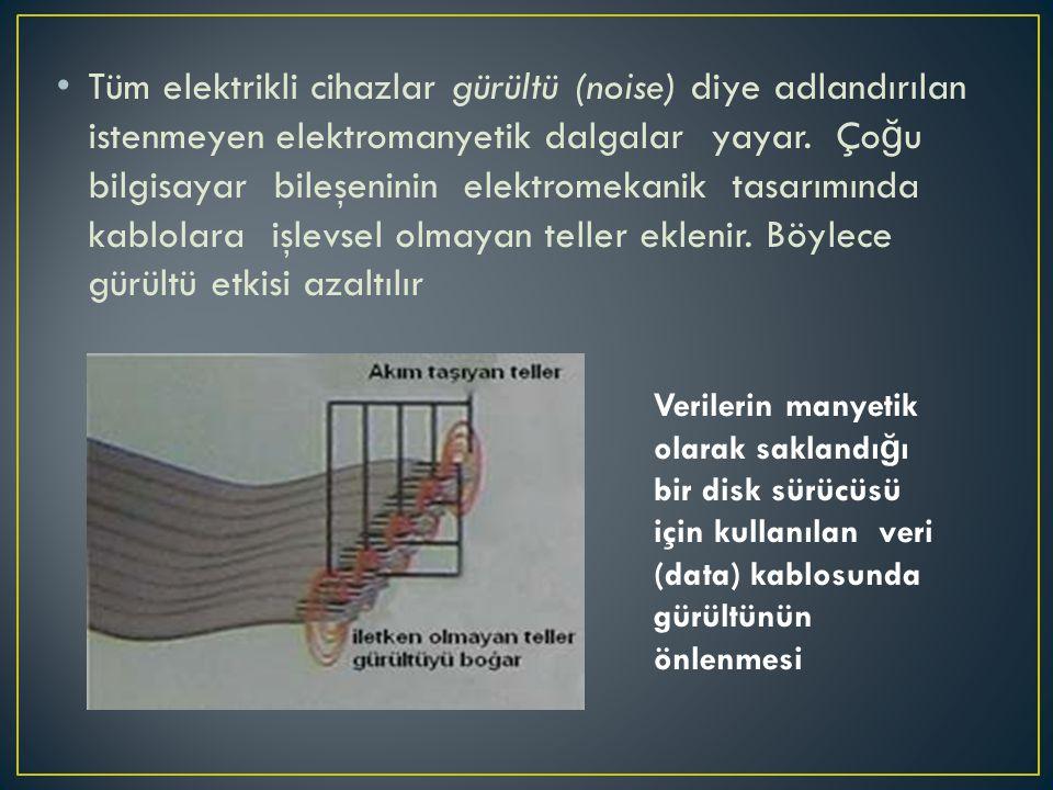 • Tüm elektrikli cihazlar gürültü (noise) diye adlandırılan istenmeyen elektromanyetik dalgalar yayar. Ço ğ u bilgisayar bileşeninin elektromekanik ta