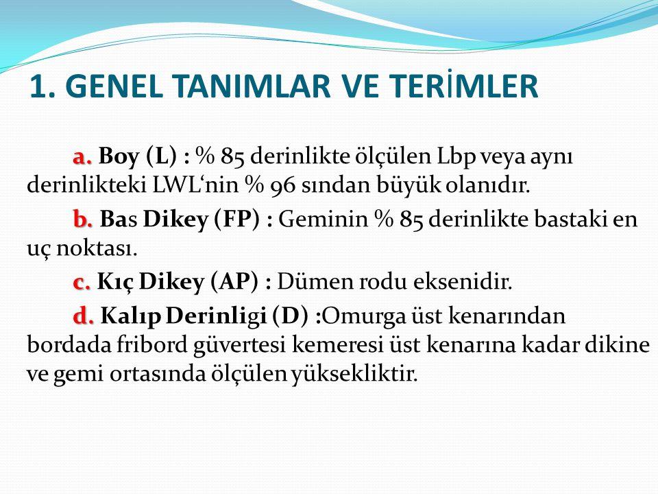 1. GENEL TANIMLAR VE TERİMLER a. a. Boy (L) : % 85 derinlikte ölçülen Lbp veya aynı derinlikteki LWL'nin % 96 sından büyük olanıdır. b. b. Bas Dikey (