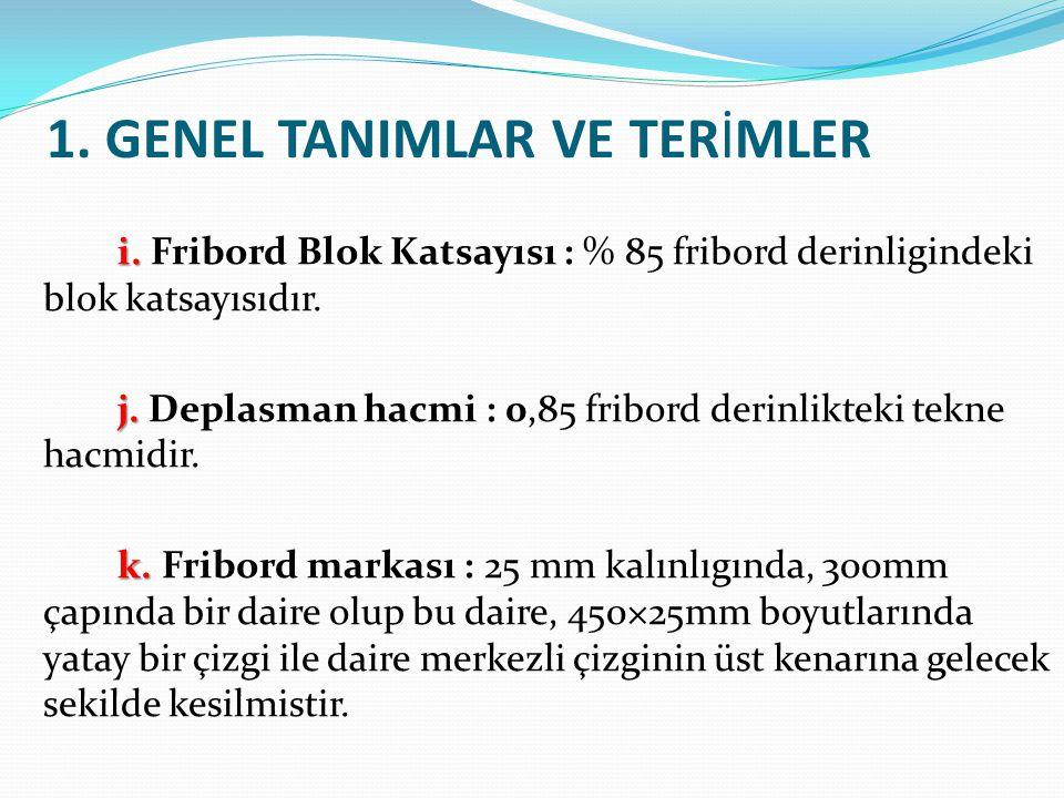 1. GENEL TANIMLAR VE TERİMLER i. i. Fribord Blok Katsayısı : % 85 fribord derinligindeki blok katsayısıdır. j. j. Deplasman hacmi : 0,85 fribord derin