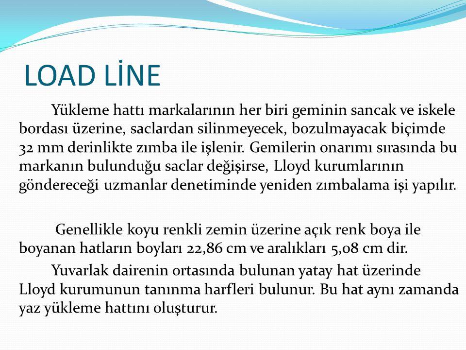 LOAD LİNE Yükleme hattı markalarının her biri geminin sancak ve iskele bordası üzerine, saclardan silinmeyecek, bozulmayacak biçimde 32 mm derinlikte