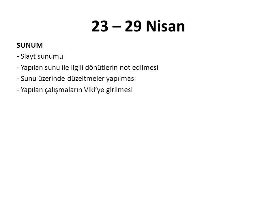 23 – 29 Nisan SUNUM - Slayt sunumu - Yapılan sunu ile ilgili dönütlerin not edilmesi - Sunu üzerinde düzeltmeler yapılması - Yapılan çalışmaların Viki