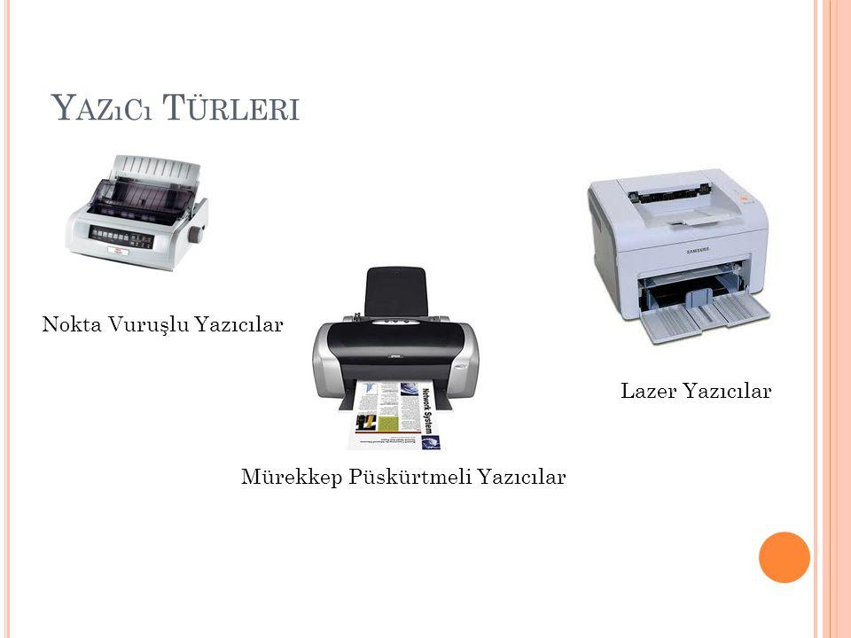 Y AZıCı T ÜRLERI Nokta Vuruşlu Yazıcılar Mürekkep Püskürtmeli Yazıcılar Lazer Yazıcılar