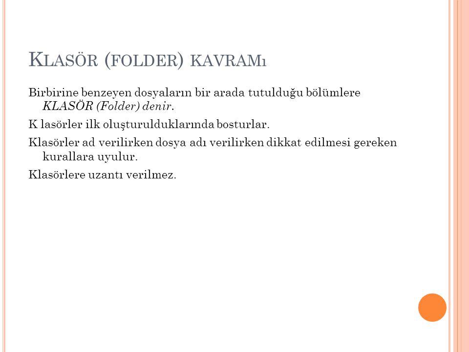 K LASÖR ( FOLDER ) KAVRAMı Birbirine benzeyen dosyaların bir arada tutulduğu bölümlere KLASÖR (Folder) denir. K lasörler ilk oluşturulduklarında bostu