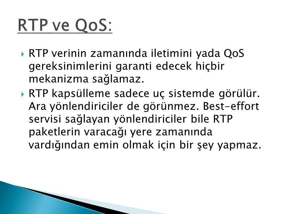  RTP verinin zamanında iletimini yada QoS gereksinimlerini garanti edecek hiçbir mekanizma sağlamaz.  RTP kapsülleme sadece uç sistemde görülür. Ara