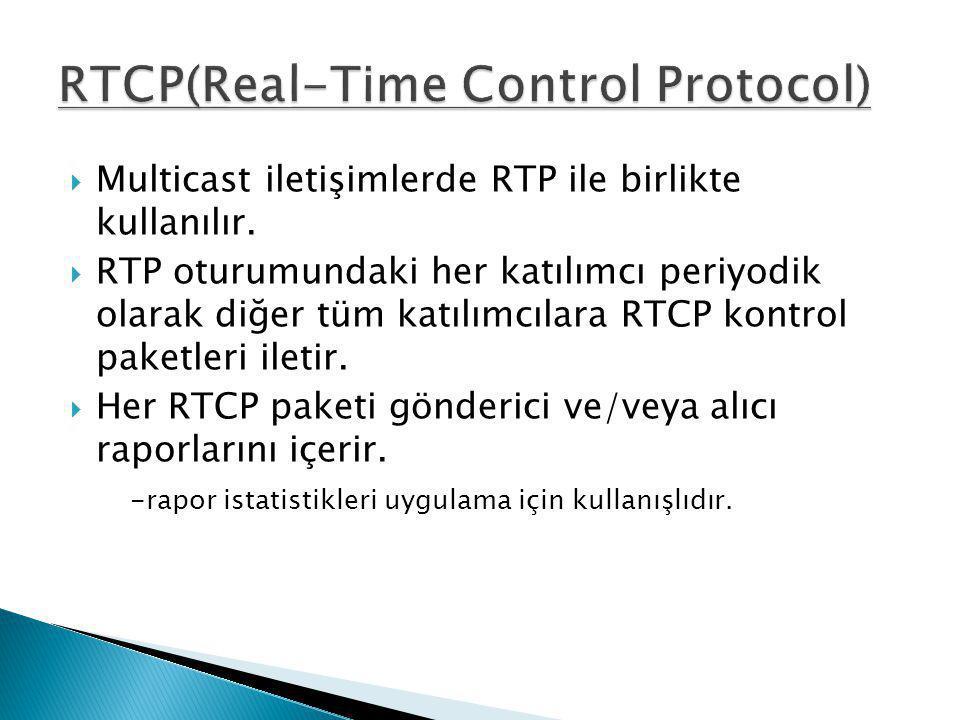  Multicast iletişimlerde RTP ile birlikte kullanılır.  RTP oturumundaki her katılımcı periyodik olarak diğer tüm katılımcılara RTCP kontrol paketler