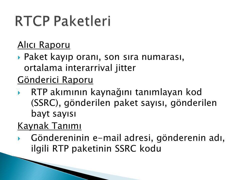 Alıcı Raporu  Paket kayıp oranı, son sıra numarası, ortalama interarrival jitter Gönderici Raporu  RTP akımının kaynağını tanımlayan kod (SSRC), gön