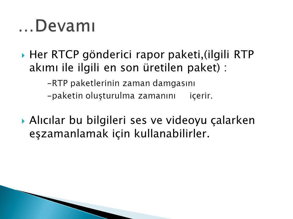  Her RTCP gönderici rapor paketi,(ilgili RTP akımı ile ilgili en son üretilen paket) : -RTP paketlerinin zaman damgasını -paketin oluşturulma zamanın
