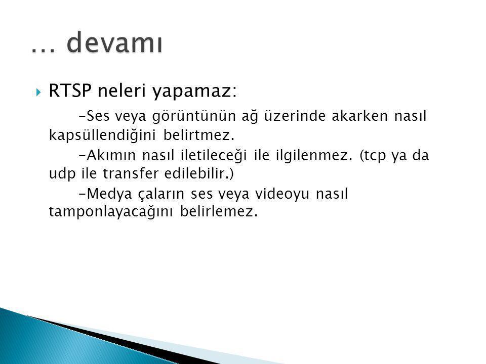  RTSP neleri yapamaz: -Ses veya görüntünün ağ üzerinde akarken nasıl kapsüllendiğini belirtmez. -Akımın nasıl iletileceği ile ilgilenmez. (tcp ya da