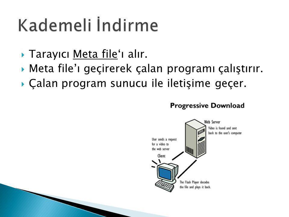  Tarayıcı Meta file'ı alır.  Meta file'ı geçirerek çalan programı çalıştırır.  Çalan program sunucu ile iletişime geçer.